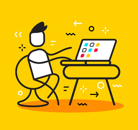 Vector business illustration of man sitting on chair and working at the table with laptop with desktop side view. Modern workplace creative linear concept. Flat line art style design for web, site, banner, presentation