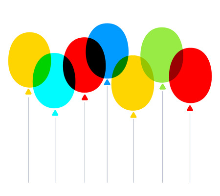 Vector creative illustration of multicolor transparent holiday balloons on white background. Flat style design for web, bright party banner, greeting card, birthday invitation