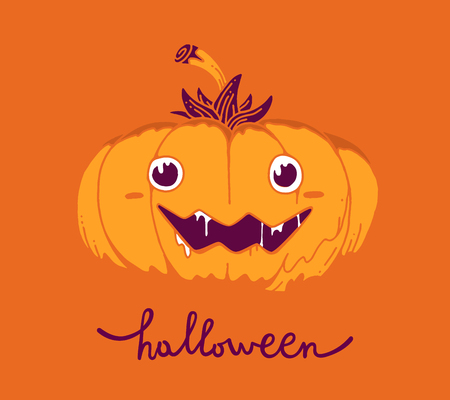 Flat style design for halloween greeting card, poster, web, site, banner. Vector halloween illustration of decorative orange pumpkin with eyes, smile, saliva and word halloween on orange color background