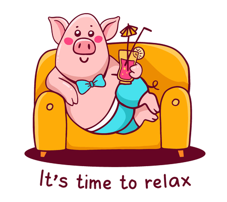 Vector illustration of pink color character pig in pants with tail lying on the sofa holding cocktail on white background. Hand draw line art design for web, site, advertising, banner, print, greeting card Illustration