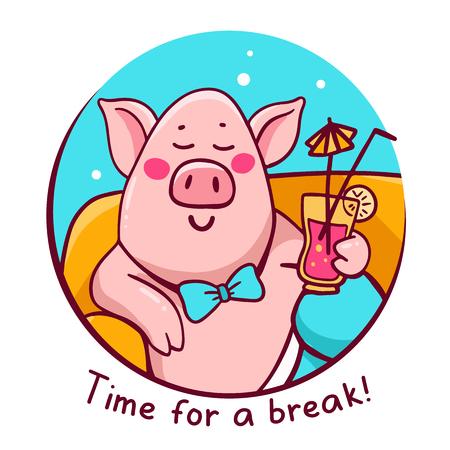 Vektorillustration des rosafarbenen Charakterschweins im blauen runden Rahmen, der auf dem Sofa in der Hose mit Cocktail liegt. Hand zeichnen Strichzeichnungen für Web, Website, Werbung, Banner, Druck, Grußkarten