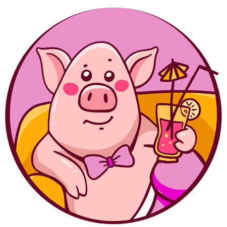 Vector illustration of pink color complacent character pig with cocktail in round frame lying on the sofa in pants. Hand draw line art design for web, site, advertising, banner, print, greeting card