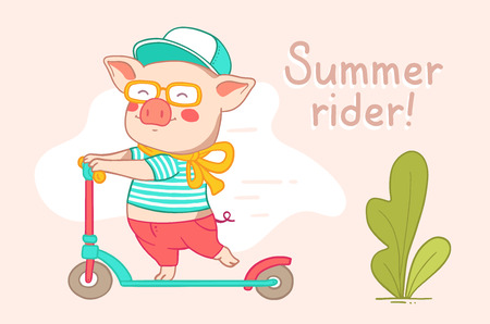 Color flat style design of urban character rider pig for web, site, banner, poster, greeting card. Vector horizontal illustration of pink piglet in pants, t-shirt, cap, glasses, rolling on a scooter