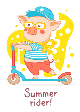 Vector illustration of pink piglet in clothes, in a cap, glasses, rolling on a scooter. Color flat style design of urban character pig for web, site, banner, poster, greeting card Illustration
