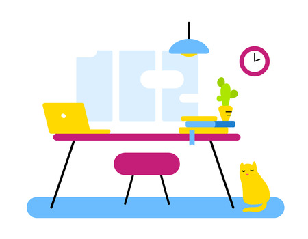 Flat style design of abstract workplace, office department for web, banner, flat interior. Vector illustration of color front view interior home office room workspace with cat and cactus