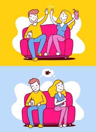 Vector illustration of woman and man sitting on sofa in different poses. Positive and nefative communication of people concept. Flat line art style design for web, site, banner, poster Illustration