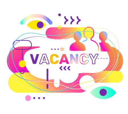 Vector creative abstract illustration of vacancy word typography on white background. Hiring people concept with colorful decor element. Search of employees design for business web, site, banner Banco de Imagens - 127213360
