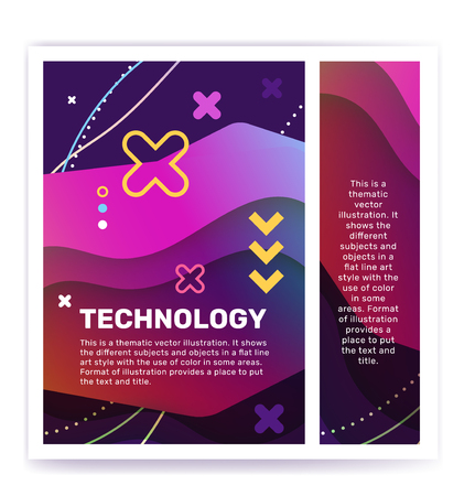 Technology concept with decor element. Vector creative abstract illustration of technology word typography on color background. Unusual design for business web, site, banner Illustration