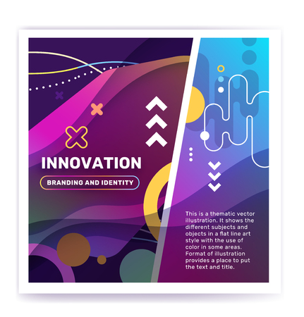 Innovation concept with decor element. Vector creative abstract illustration of innovation word typography on color background. Unusual design for business web, site, banner Ilustração