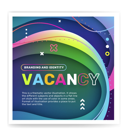 Hiring people concept with decor element. Vector creative abstract illustration of vacancy word typography on color background. Search of employees design for business web, site, banner Ilustração