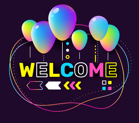 Vector creative illustration of welcome word lettering typography on black background. Invitation concept to the event with 3d colorful air balloon, decor element. Isometric design for business web, site, banner, card