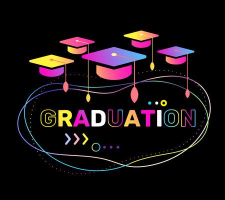 Ilustración de vector de gorras de posgrado de color y graduación de palabra sobre fondo negro. Felicitaciones graduados 2018 clase de graduaciones. Diseño de estilo plano con efecto de neón brillante con sombrero para saludo, tarjeta de invitación, banner