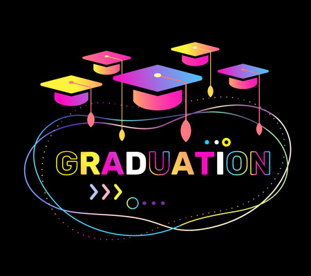 Vector illustration of color graduate caps and word graduation on black background. Congratulation graduates 2018 class of graduations. Glow neon effect flat style design with hat for greeting, invitation card, banner