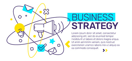Vector creative template composition with business strategy abstract illustration with header, text on white background. Line art design for web, site, banner, presentation
