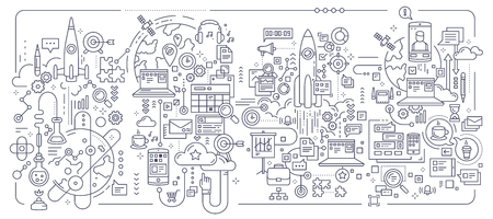 Vector creative set of business concept illustration on white background. Technology business process composition template. Hand draw flat thin line art style monochrome black and white design for web, banner