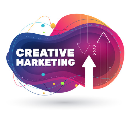Vector creative illustration of marketing project with shadow. Business abstract bright colorful concept on white background with arrow. Template design for banner, presentation Ilustração