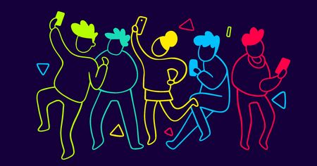 Vector illustration of group of dancing neon light people with mobile phone, creative concept. Line art style design for web, site, banner, poster, presentation