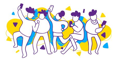 Vector illustration of group of white dancing people with mobile phone and black hear, creative concept on blue and yellow spot background. Flat line art style design for web, site, horizontal banner, poster, presentation