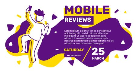 Vector creative template with illustration on yellow and violet background. Happy dancing man with mobile phone taking a selfie. Flat line art style design for web, site, banner, poster, horizontal presentation Ilustração