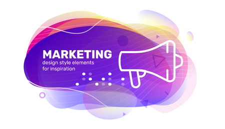 Vector creative business color shape illustration with text and icon megaphone on white background. Template abstract design for banner, marketing presentation, print Ilustrace