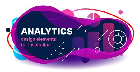 Vector creative analytics template design with abstract shape, text and chart on white background with shadow. Business color illustration for banner, presentation, print Ilustração