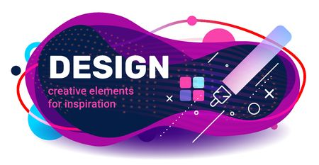 Vector creative cool template design with abstract shape, text and pen on white background with shadow. Business color illustration for banner, presentation, print