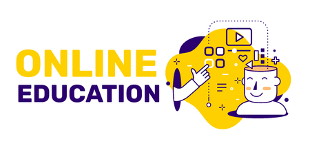 Vector creative illustration of online education and open head of man, icon on yellow background with text. Line art style design for web, site, banner, presentation