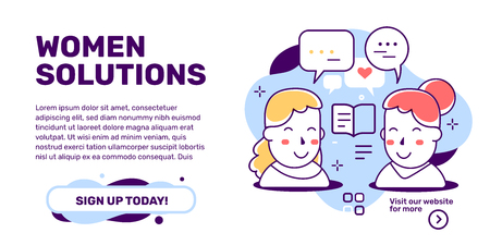 Vector creative illustration of women solutions with head of people with speech bubble on white background with text. Line art style design for web, site, banner, presentation Illustration