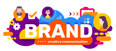 Vector creative illustration of business brand word typography and head of people in bubble on bright color background with icon. Flat style design for web, site, banner, presentation