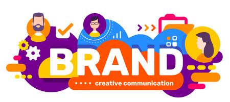 Vector kreative Illustration der Worttypografie der Geschäftsmarke und des Kopfes von Leuten in der Blase auf hellem Farbhintergrund mit Ikone. Flaches Design für Web, Site, Banner, Präsentation