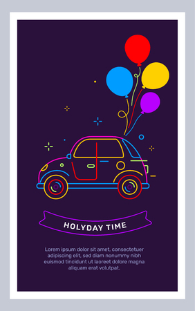 Vector illustration in frame of retro car neon color with bright bunch of flat style air balloon and text on black background. Line art style creative template design for web, site, banner, card, poster