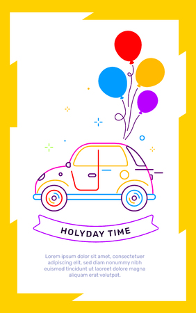 Vector illustration in yellow frame of retro car side view with bright bunch of color air balloon and text on white background. Line art style creative template design for web, site, banner, card, poster Ilustração