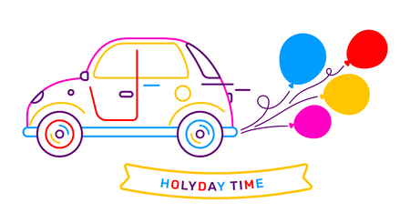 Vector illustration of retro car side view with bright bunch of color air balloon on white background. Line art style creative design for web, site, banner, card
