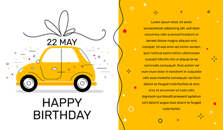 Vector creative holiday template with illustration of yellow color side view car with bow and text on white background. Flat style design for web, site, banner, card