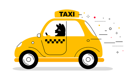 Vector creative illustration of yellow color taxi service car with man driver on white background. Flat style design for web, site, banner, card Stock Illustratie
