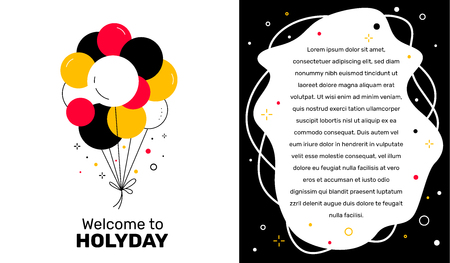 Vector creative template with illustration of color bunch of air balloon and text on white background. Flat style design for web, site, banner, card 向量圖像