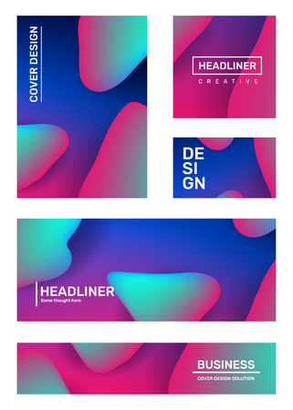 Vector set of creative abstract illustration. Business abstraction, geometric gradient background with dynamic shape, header. Template composition design for web, site, banner, poster, presentation
