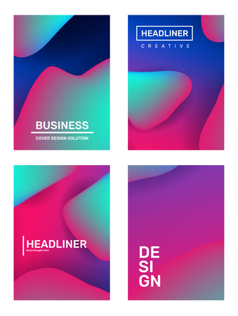 Vector set of creative abstract template composition. Business illustration abstraction, geometric gradient background with dynamic shape, header. Design for web, site, banner, poster, presentation