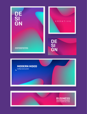 Vector business set of creative illustration abstraction. Abstract geometric gradient background. Template composition design with dynamic shape, header for web, site, banner, poster, presentation Banco de Imagens - 124755517
