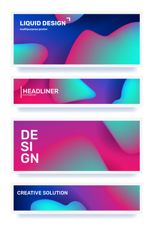 Vector business set of creative horizontal abstraction. Abstract geometric gradient illustration. Template composition design with dynamic shape, header, color background for web, site, banner, poster, presentation