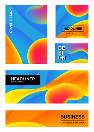 Vector set of creative blue and yellow abstract illustration. Business gradient abstraction, background with dynamic shape, header. Template composition design for web, site, banner, poster, presentation