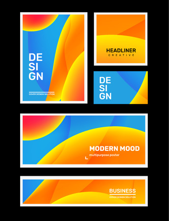 Vector set of creative blue and yellow abstract different illustration in frame. Business gradient abstraction background with header. Template composition design for web, site, banner, poster, presentation
