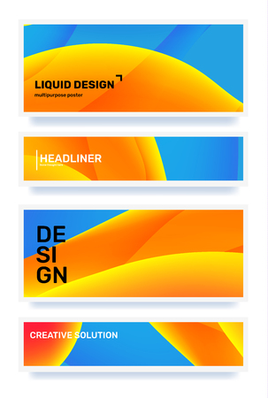 Vector set of creative blue and yellow abstract horizontal illustration in frame. Template composition design for web, site, banner, poster, presentation. Business gradient abstraction background with header Ilustração