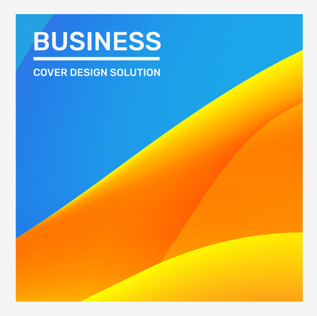 Vector creative bright blue and yellow business abstract illustration. Gradient abstraction background in frame with header. Template composition design for web, site, banner, poster, presentation