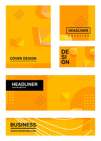 Vector set of creative yellow abstract illustration with shape, 3d element, header. Business abstraction background. Template composition design for web, site, banner, print, poster, presentation Ilustração