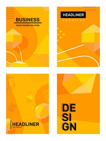 Vektorsatz der kreativen gelben abstrakten Illustration a4. Geschäftsschablonenzusammensetzungshintergrund mit Form, 3D-Element, Kopfzeile. Abstraktionsdesign für Web, Site, Banner, Print, Poster, Präsentation