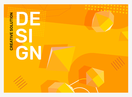 Vector creative bright yellow abstraction illustration in frame. Business abstract background with shape, 3d element, header. Template composition design for web, site, banner, print, poster, presentation