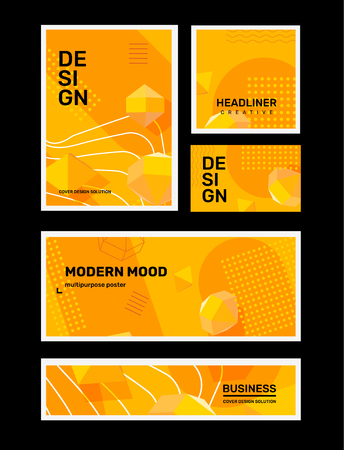 Vector set of creative yellow abstract different illustration in frame. Business abstraction background with shape, 3d element, header. Template composition design for web, site, banner, print, poster, presentation