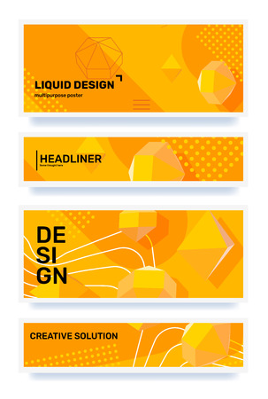 Vector set of creative yellow abstract horizontal illustration with shape, 3d element, header in frame. Template composition design for web, site, banner, print, poster, presentation. Business abstraction background Ilustração