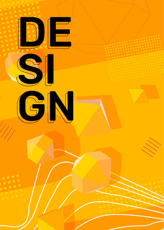 Vector creative bright yellow color vertical illustration. Business abstract background with shape, 3d element, header. Template composition, abstraction design for web, site, banner, print, poster, presentation Ilustração